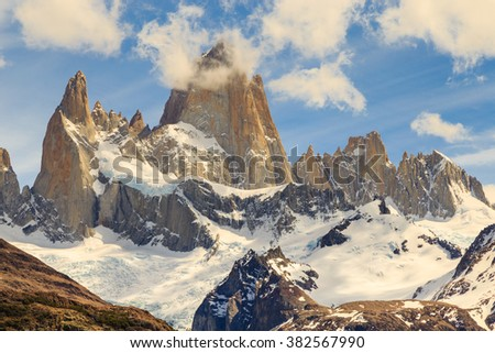 fitz roy mountain, mountains landscape, patagonia, south america, argentina, glacier in mountains - stock photo