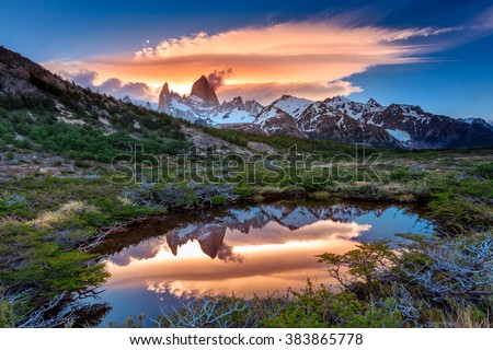 Fitz Roy view with reflection in pond, located at Argentinian Patagonia - stock photo