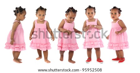 Five adorable babies pink dressed isolated on a over white background