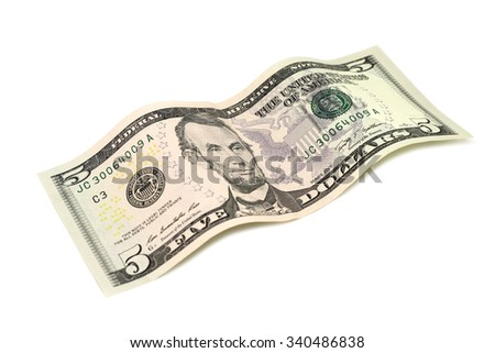Five American dollars on a white background