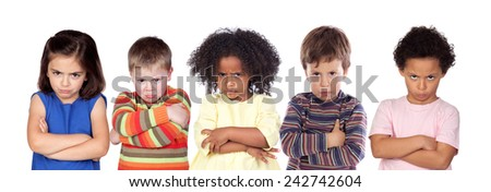 Five angry children isolated on a white background - stock photo