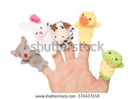 five animal finger puppets studio cutout - stock photo
