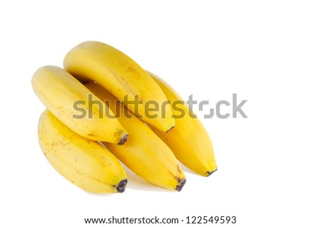five bananas isolated with copy space