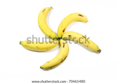 Five bananas set like star isolated on the white background