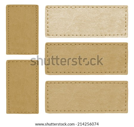 five blank jeans leather labels  isolated, set  - stock photo