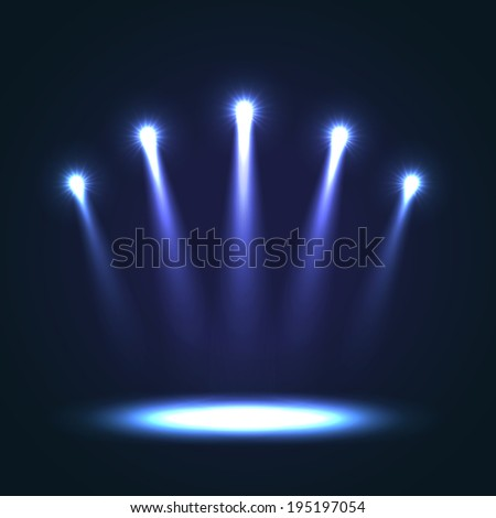 Five blue bright projectors for scene lighting decoration on black background. Special light effects - stock photo