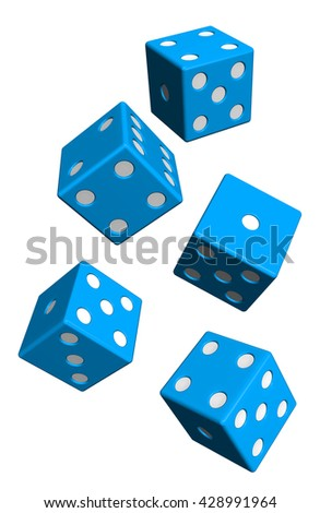 Five blue dices isolated on white. 3D illustration. - stock photo