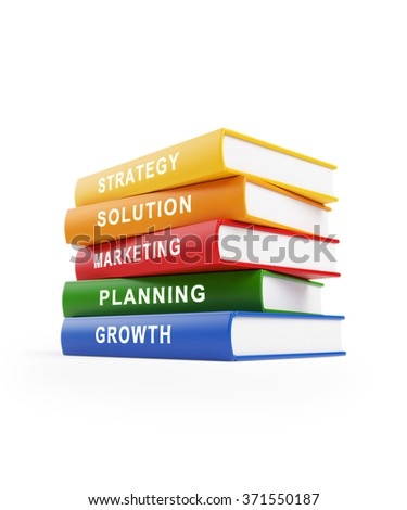 Five books stacked  on top of each other. The books have yellow, red, blue and green covers with white text along the spines. isolated on white background. Clipping path is included.