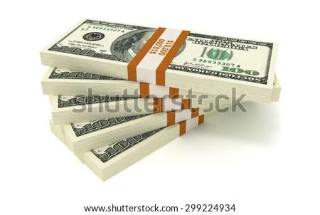 Five Bundles of 10000 US Dollars. Isolated on White Background - stock photo