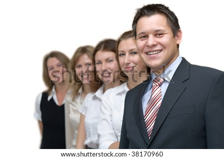 Five business persons a team standing in a row. On a white background