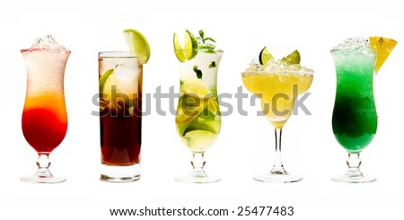 Five Cocktails - stock photo