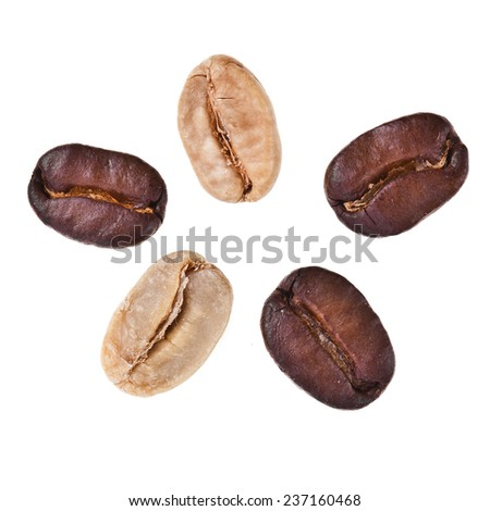 Five coffee beans surface top view sign close up macro shot isolated on white background