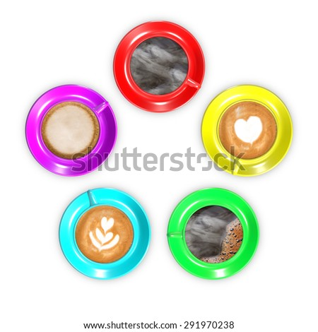 Five coffee cups arranged in circle with rainbow colors and various coffee drinks. - stock photo