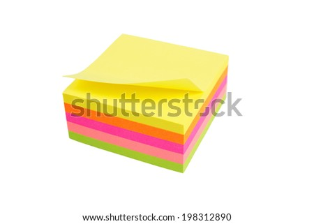five color block of post-it notes isolated on white background - stock photo