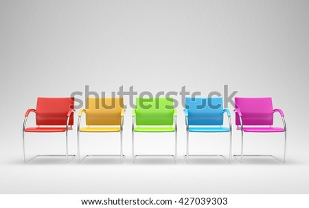 Five colored chairs in empty space 3D render