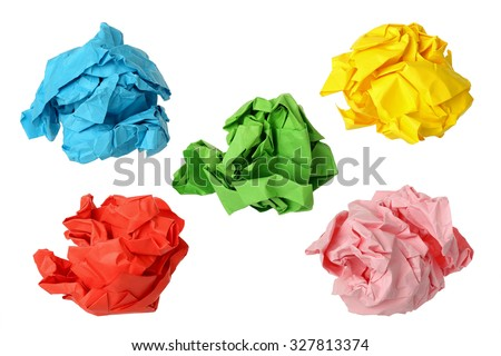 five colorful crumpled paper balls isolated on white - stock photo