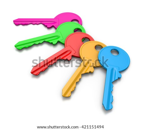 Five Colorful Keys Set on White Background 3D Illustration