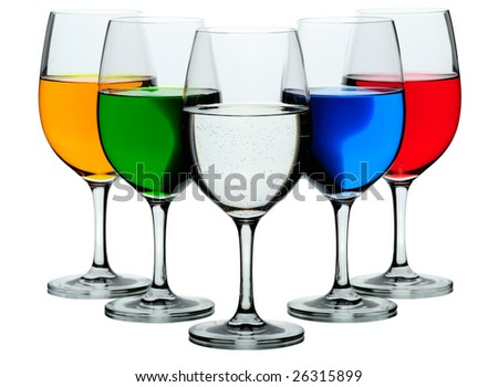 Five coloured wine glasses isolated on white