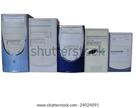 Five computers, isolated on white - stock photo
