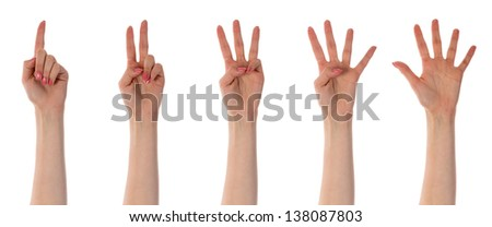 Five counting female hands isolated on white