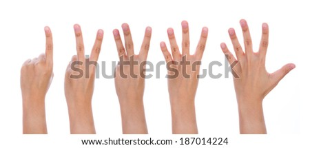 Five counting female hands isolated on white background - stock photo