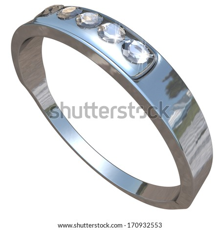 five diamond ring with clipping path