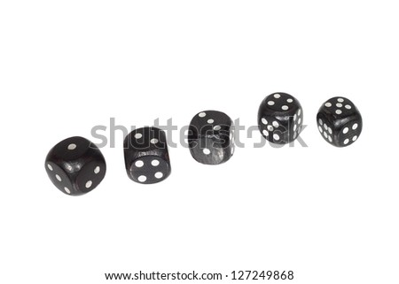 Five dices in straight order from left to right isolated on white background