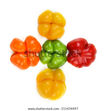 Five different colored bell peppers