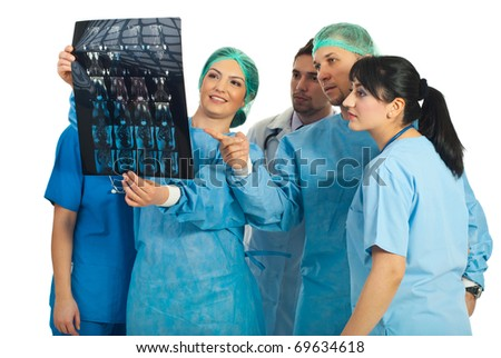Five different doctors collaborate and review an MRI scan together and giving their opinions isolated on white background - stock photo