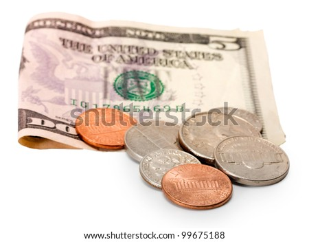 five dollar and cents isolated on white background - stock photo