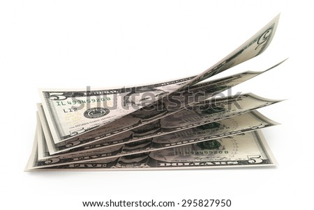 Five dollar banknotes stacks close-up (isolated and clipping path) - stock photo