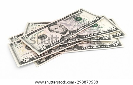 Five dollar banknotes stacks (isolated and clipping path)