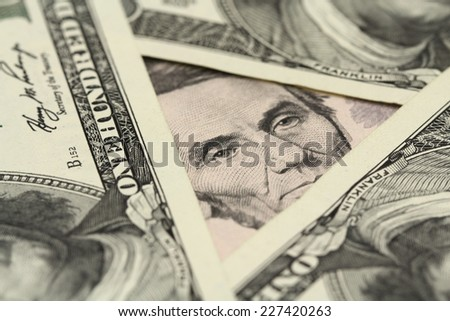 five dollar bill abstract background