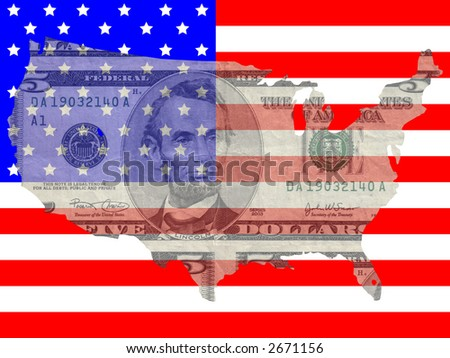 Five dollar bill with American map flag frame