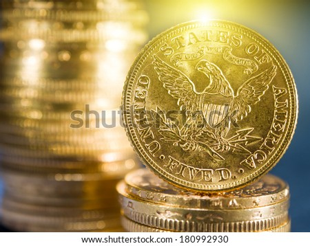 Five Dollars gold coins USD