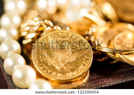 Five Dollars gold coins USD - Selective focus