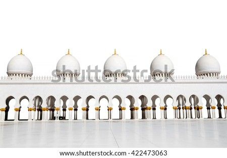 five domes of Sheikh Zayed Mosque  isolated on a white background