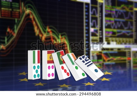 Five dominoes of EU countries that seem to have financial problem, stand upright in front of the display of financial instruments for stock market technical analysis including rainbow analysis. - stock photo