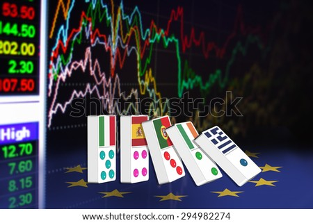 Five dominoes of EU countries that seem to have financial problem, stand upright in front of the display of financial instruments for stock market technical analysis. - stock photo
