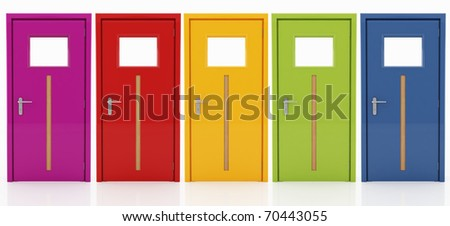 five doors in  different colors with wooden insert isolated on white