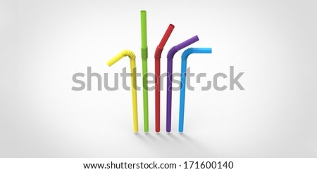 Five drinking straws - stock photo