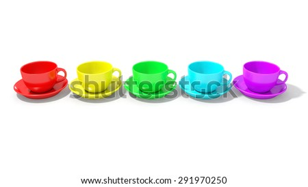Five empty coffee cups horizontally aligned with rainbow colors - stock photo