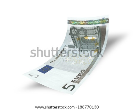 five euro banknote on white background