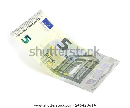 five euro banknote on white background - stock photo