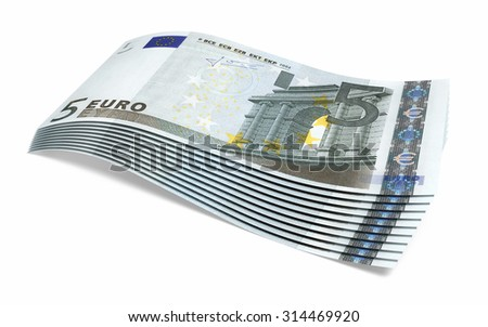 Five euro banknotes stacks (isolated on white and clipping path)