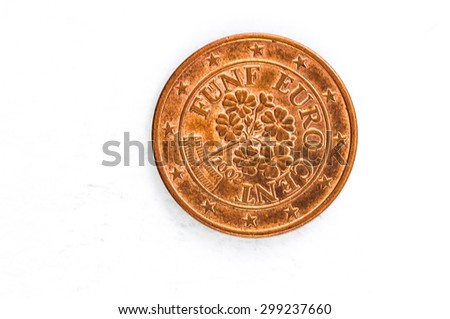 five Euro cent Coin with German backside used look - stock photo