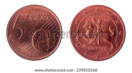 Five euro cents coin with national lithuanian emblem - stock photo
