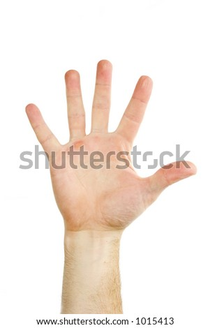 Five fingers being held in the air by a males hand.  Isolated on white with clipping mask.
