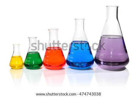 Five Flasks in a Row Filled with Colorful Liquids