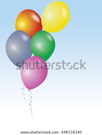 Five flying colorful birthday or party ballons with ribbons - holidays background illustration - stock photo